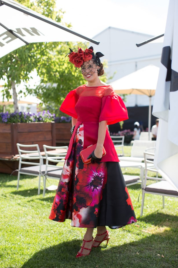 Name: Emma Scodellaro<br><br> Outfit: millinery Jill and Jack, top and skirt Craig Braybrook couture, shoes Valentino<br><br> Race day: Melbourne Cup 2015 <br><br> Location: Flemington, Melbourne <br><br>