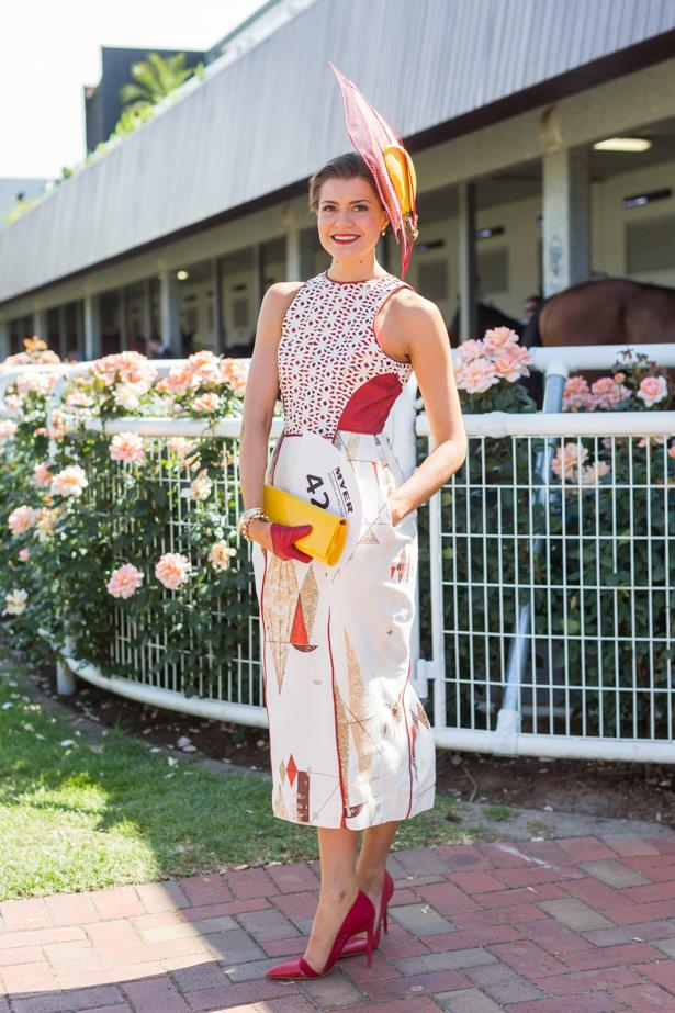 Name: Olivia Moor <br><br> Outfit: Ali Moor dress and millinery, shoes Zara, bag Olga Berg<br><br> Race day: Melbourne Cup 2015 <br><br> Location: Flemington, Melbourne <br><br>