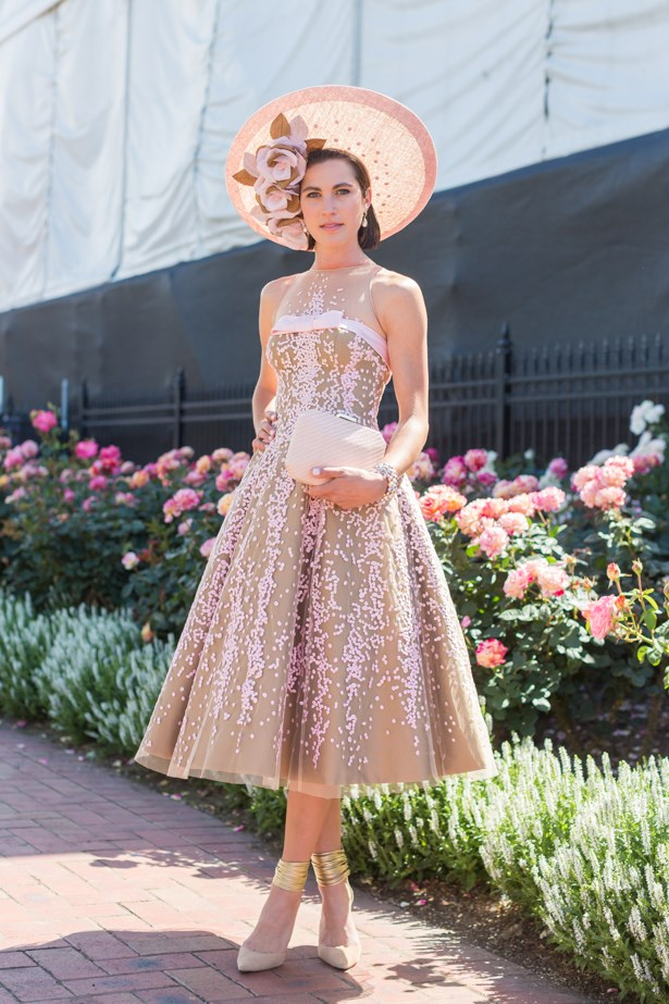 Name: Sarah Dowling <br><br> Outfit: millinery Latica, dress Medwin Couture, Olga Berg bag<br><br> Race day: Melbourne Cup 2015 <br><br> Location: Flemington, Melbourne