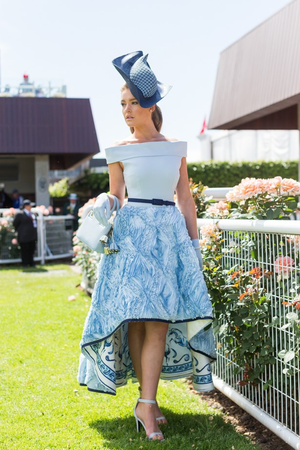 Name: Georgia Gibbs <br><br> Outfit: Race day: Derby Day 2015 <br><br> Location: Flemington, Melbourne
