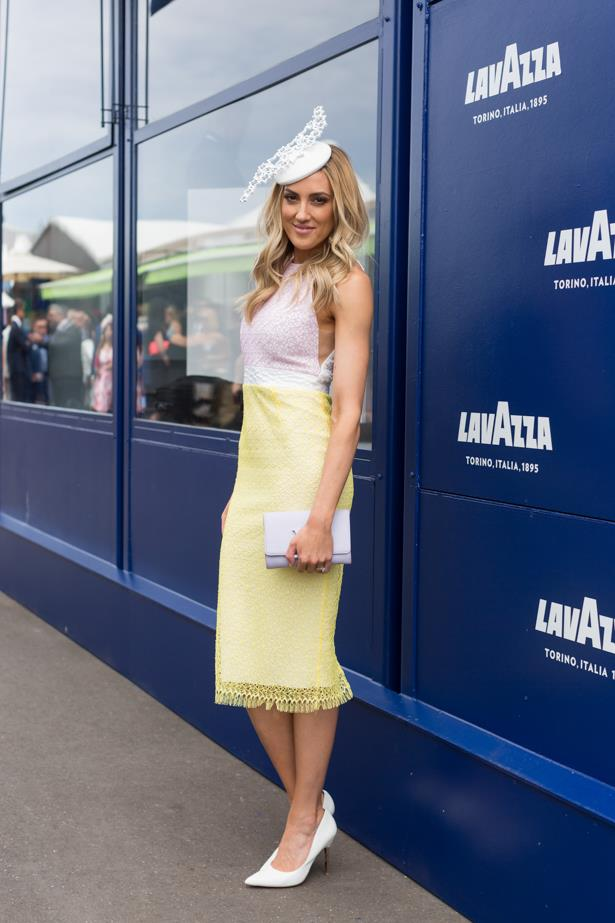Name: Kate Twigley<br><br> Outfit: Alex Perry dress with Louis Vuitton handbag <br><br> Race day: Melbourne Cup 2015 <br><br> Location: Flemington, Melbourne<br><br>