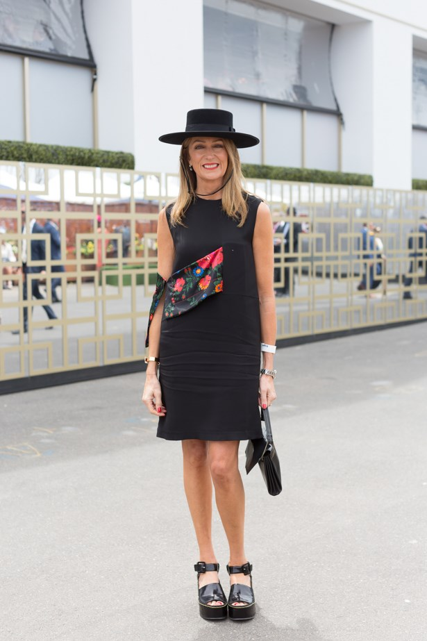 Name: Sharon Van Haandel<br><br> Outfit: Dress and shoes Celine<br><br> Race day: Melbourne Cup 2015 <br><br> Location: Flemington, Melbourne