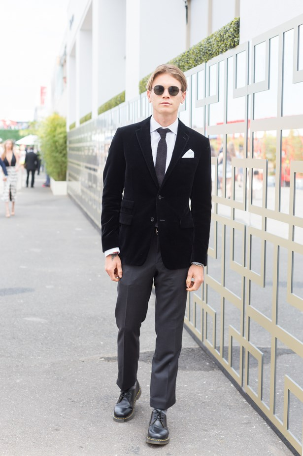 Name: Adil Taylor<br><br> Outfit: Ralph Lauren suit, Doc Marten shoes <br><br> Race day: Melbourne Cup 2015 <br><br> Location: Flemington, Melbourne