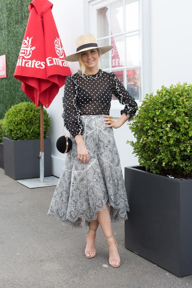 Name: Rebecca James<br<br> Outfit: Zimmermann top and skirt, Lack of Colour hat, Windsor Smith shoes<br><br> Race day: Melbourne Cup 2015<br<br> Location: Flemington, Melbourne