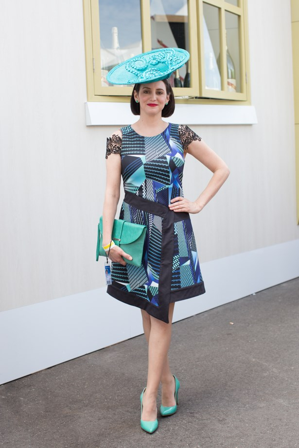 Name: Bridgette Cox<br><br> Outfit: Dress Wayne Cooper, shoes + bag Jo Mercer, hat bespoke<br><br> Race day: Melbourne Cup 2015 <br><br> Location: Flemington, Melbourne