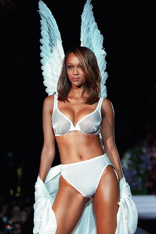 1998 saw the very first pair of angel wings take to the runway, on the back of Tyra Banks of course. From the wings eventually came the term 'Angels'.