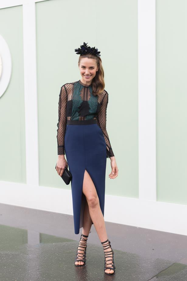 Name: Rachael Finch<br><br> Outfit: Self Portrait dress, Natalie Bikicki millinery and Tony Bianco heels.  <br><br> Race day: Oaks Day 2015 <br><br> Location: Flemington, Melbourne