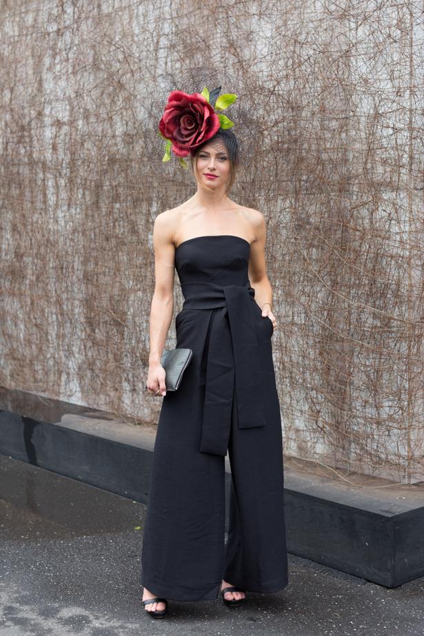 Name: Julia Vogl<br><br> Outfit: Millinery Richard Nylon, Cameo jumpsuit, shoes Tony Bianco, bag Calvin Klein<br><br> Race day: Oaks Day 2015 <br><br> Location: Flemington, Melbourne