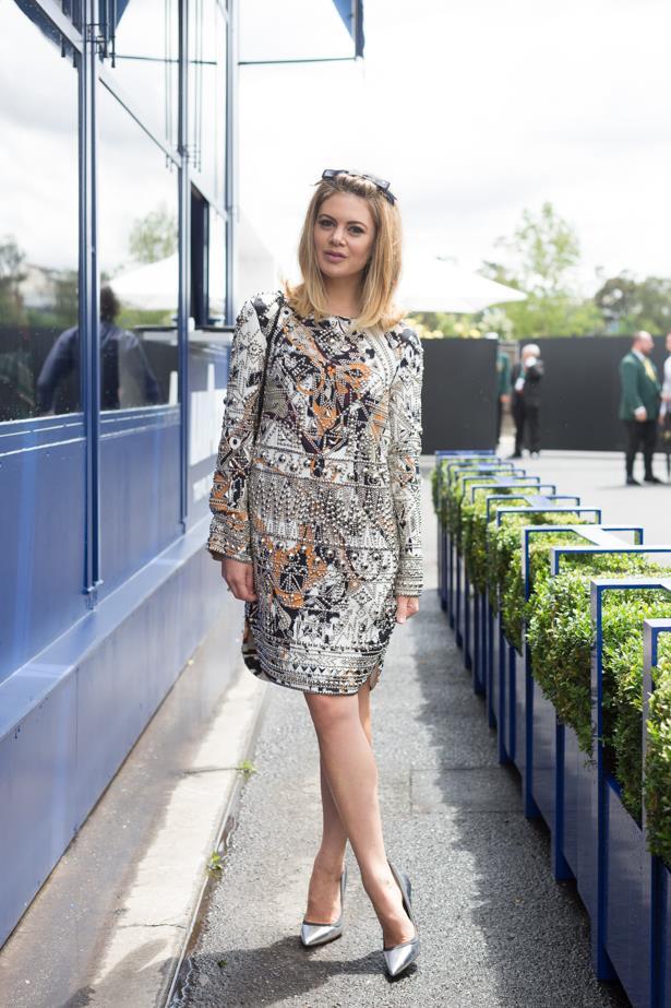 Name: Jess Dempsey<br><br> Outfit: Emilo Pucci dress, Chanel headpieces, shoes Tony Bianco<br><BR> Race day: Oaks Day 2015 <br><BR> Location: Flemington, Melbourne