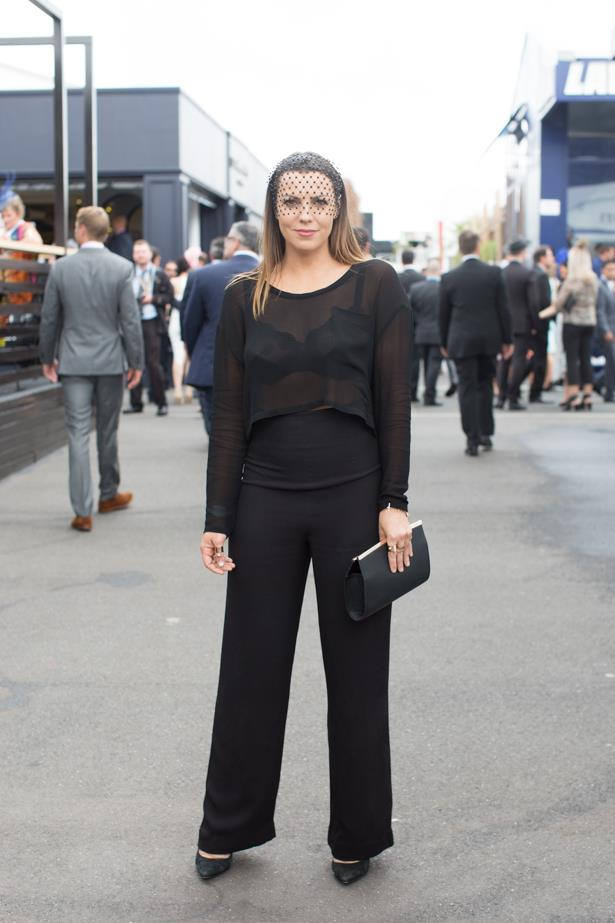 Name: Rachel Hayes<br><br> Outfit: Head to toe Thurley, Mimco millinery<br><br> Race day: Oaks Day 2015 <br><br> Location: Flemington, Melbourne