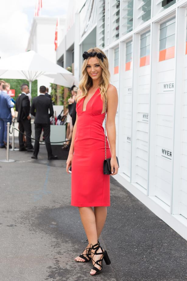 Name: Brooke Hogan<br><br> Outfit: Shona Joy dress, shoes Tony Bianco, bag Chanel<br><br> Race day: Oaks Day 2015 <br><br> Location: Flemington, Melbourne