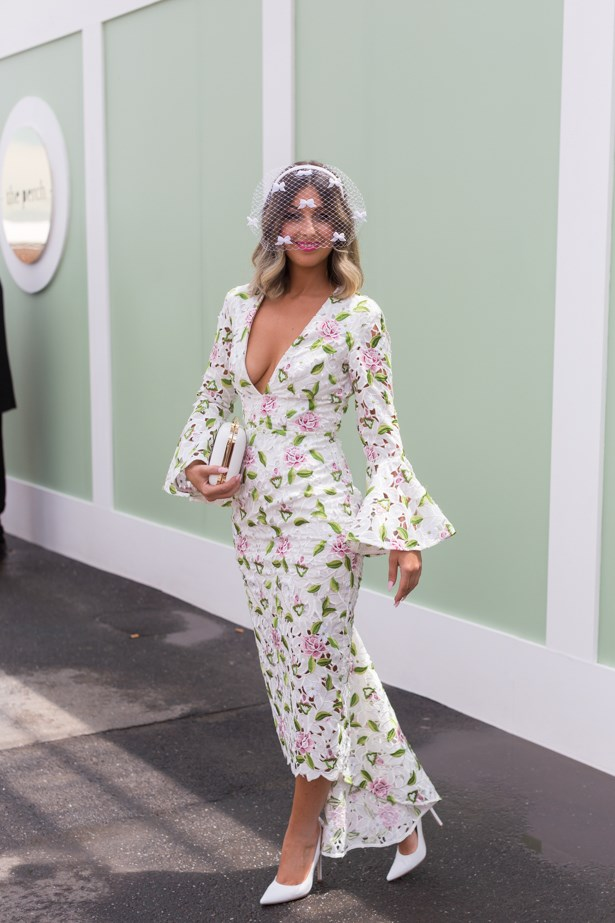 Name: Cynthia Farchione<br><br> Outfit: Millinery the Eternal Headonist, dress Asilio, shoes Wittner, Olga Berg<br><br> Race day: Oaks Day 2015 <br><br> Location: Flemington, Melbourne