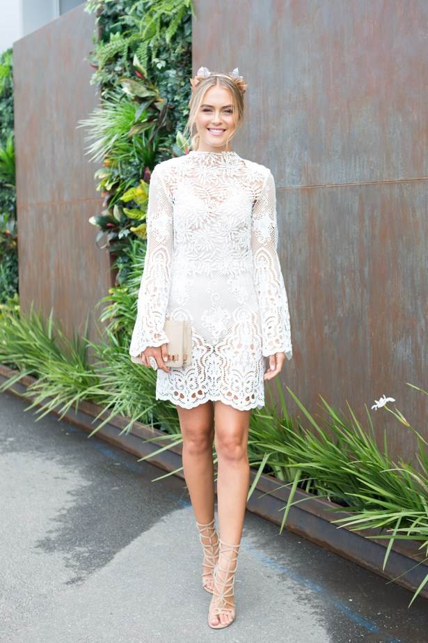 Name: Steph Claire Smith<br><br> Outfit: White Suede dress <br><br> Race day: Oaks Day 2015 <br><br> Location: Flemington, Melbourne