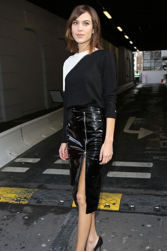 Alexa Chung at the Erdem AW15 Show during London Fashion Week
