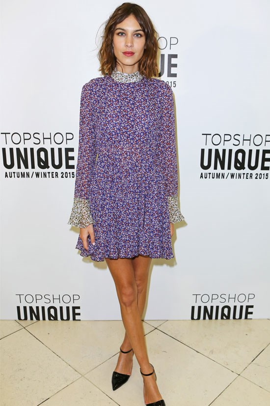 Alexa Chung at the Topshop Unique AW15 Show during London Fashion Week