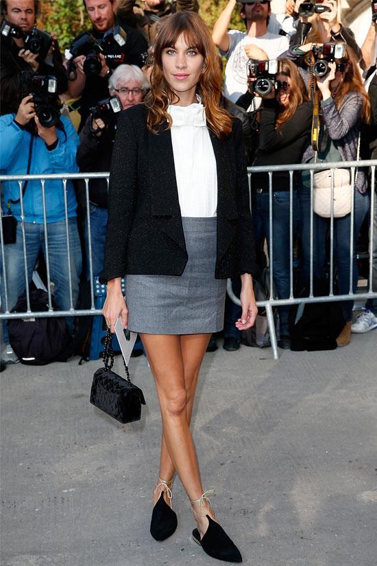 Alexa Chung at the Chanel SS15 Show during Paris Fashion Week