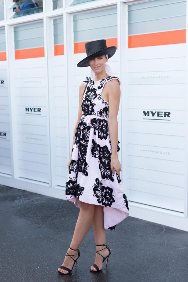 Name: Nikki Phillips<br><br> Outfit: Aje dress, Tony Bianco heels <br><br> Race day: Oaks Day 2015 <br><br> Location: Flemington, Melbourne