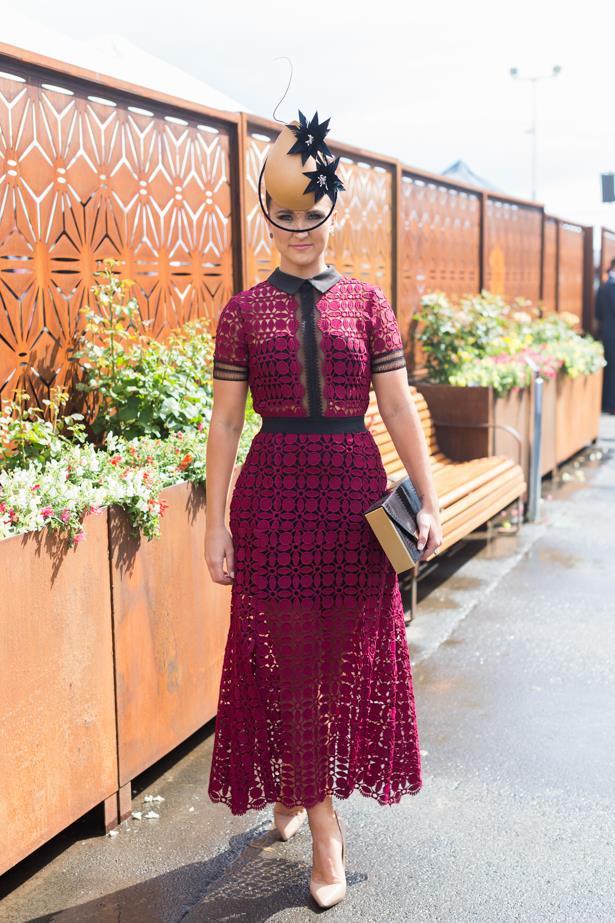 Name: Whitney Berry<br><br> Outfit: Self Portrait dress,  Meka millinery, shoes Tony Bianco<br><br> Race day: Oaks Day 2015 <br><br> Location: Flemington, Melbourne