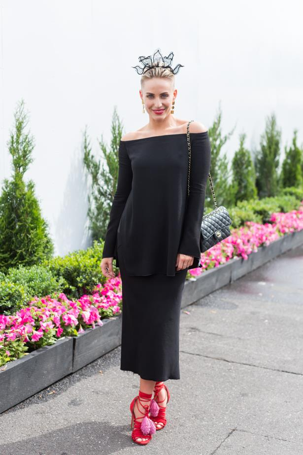 Name: Taryn Williams<br><br> Outfit: Top Ellery, skirt Rick Owens<br><br> Race day: Oaks Day 2015 <br><br> Location: Flemington, Melbourne