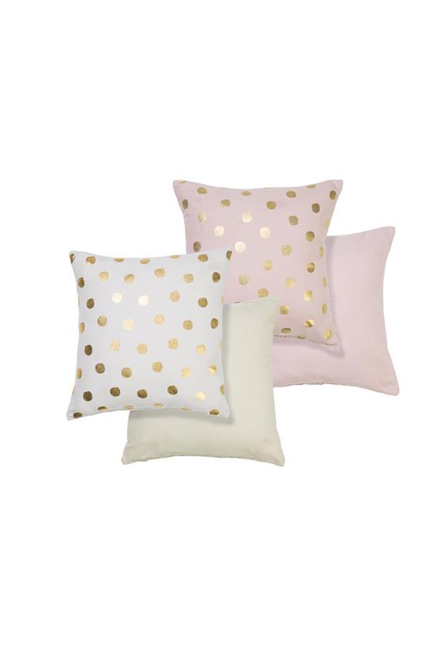 "Spotty cushions, $10 each, <a href=""http://www.kmart.com.au/product/foil-spot-cushions/586801"">Kmart </a>"