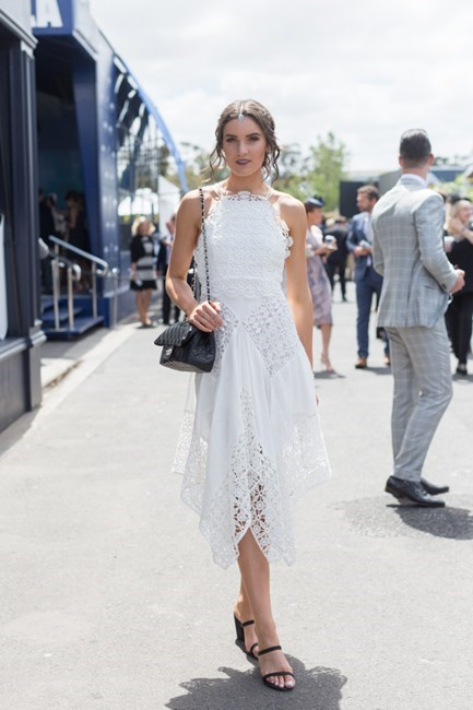 Name: Holly Titheridge Outfit: Thurley dress, millinery Pisarina Suriano, shoes Spurr, bag Chanel Race day: Stakes Day 2015 Location: Flemington, Melbourne