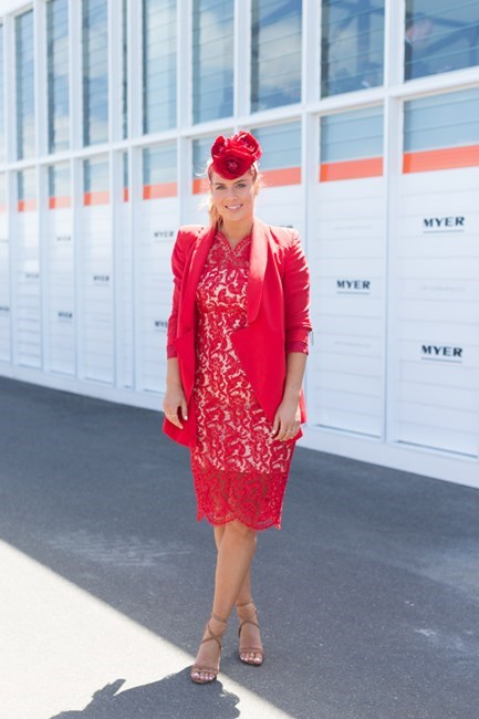 Name: Lisa Hamilton Outfit: Lover dress, Ellery blazer, Tony Bianco shoes, Nerida winter millinery Race day: Stakes Day 2015 Location: Flemington, Melbourne
