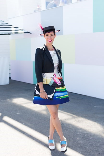 Name: Lisa Tan Outfit: Lisa Tan millinery, jacket Paule Ka, dress custom, Miu Miu shoes Race day: Stakes Day 2015 Location: Flemington, Melbourne
