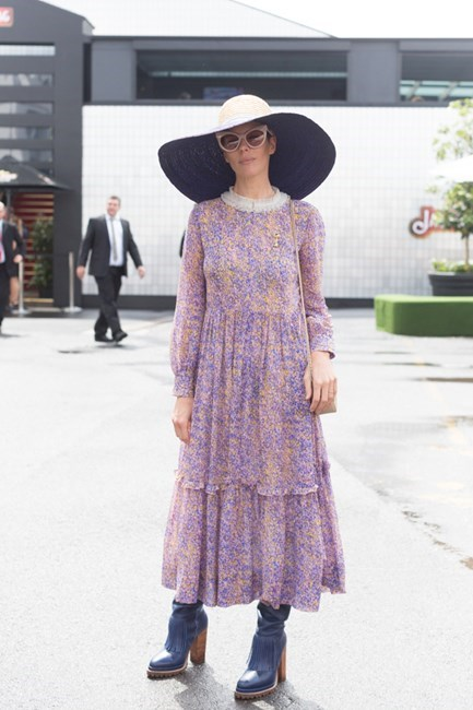 Name: Karen Walker Outfit: head-to-toe Karen Walker Race day: Oaks Day 2015 Location: Flemington, Melbourne