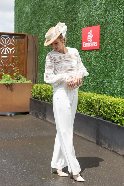 Name: Bree Laughlin Outfit: Acler pants and Asilio top with Jill and Jack millinery Race day: Oaks Cup 2015 Location: Flemington, Melbourne