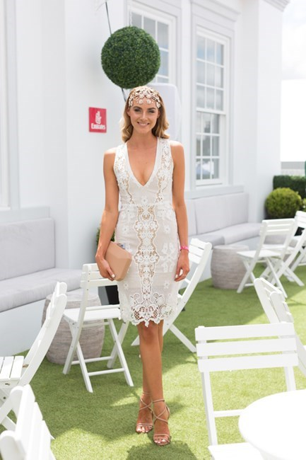 Name: Brooke Meredith Outfit: Winoa dress, Mimco millinery, Olga Berg clutch, Tony Bianco heels Race day: Melbourne Cup 2015 Location: Flemington, Melbourne