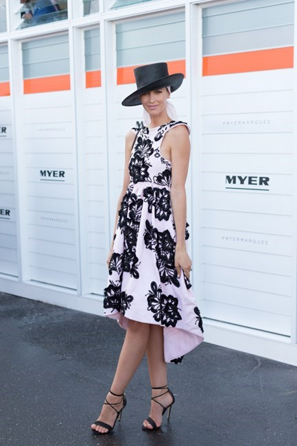 Name: Nikki Phillips Outfit: Aje dress, Tony Bianco heels Race day: Oaks Day 2015 Location: Flemington, Melbourne