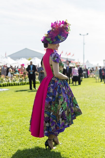 Name: Athena Lin Outfit: hat Neil Griggs, dress bespoke, shoes Tony Bianco, bag Dangerfield Race day: Melbourne Cup 2015 Location: Flemington, Melbourne