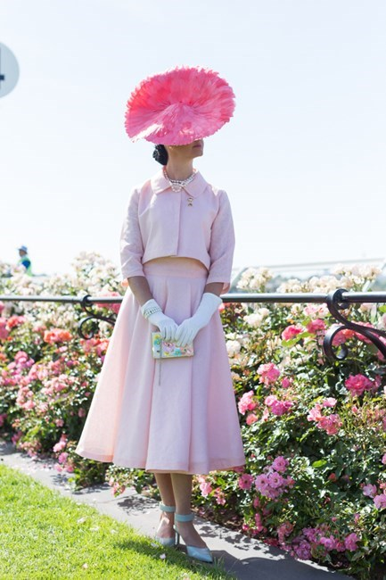 Name: Angela McCormick Outfit: millinery Julie Casey, bespoke top and skirt, vintage gloves, ASOS bag, Nine West shoes Race day: Melbourne Cup 2015 Location: Flemington, Melbourne