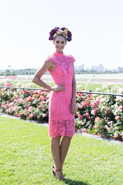 Name: Nikki Phillips Outfit: custom Seduce dress, Viktoria Novak millinery, Myer shoes Race day: Melbourne Cup 2015 Location: Flemington, Melbourne
