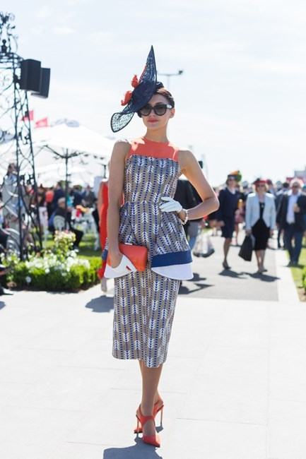 Name: Charlotte Moor Outfit: Millinery and dress Ali Moor, Zara shoes Race day: Melbourne Cup 2015 Location: Flemington, Melbourne