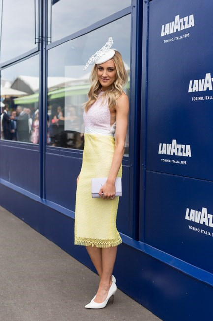 Name: Kate Twigley Outfit: Alex Perry dress with Louis Vuitton handbag Race day: Melbourne Cup 2015 Location: Flemington, Melbourne
