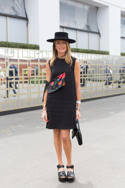 Name: Sharon Van Haandel Outfit: Dress and shoes Celine Race day: Melbourne Cup 2015 Location: Flemington, Melbourne