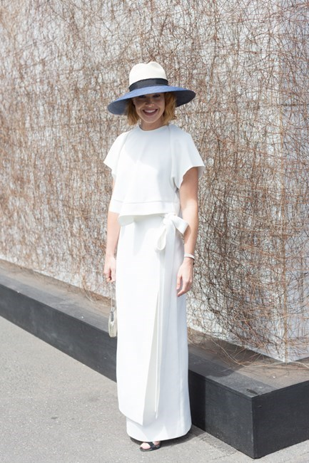 Name: Krew Boylan Outfit: Ellery top and skirt, Nerida Winter hat, shoes Manolo Blahnik, vintage clutch Race day: Melbourne Cup 2015 Location: Flemington, Melbourne