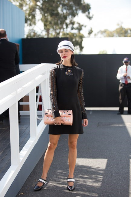 Name: Daniella Carmichael Outfit: Nerida Winter hat, Louis Vuitton dress Race day: Derby Day 2015 Location: Melbourne