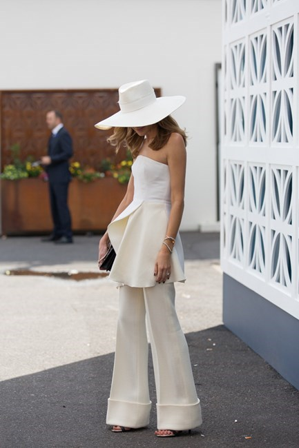 Name: Kate Waterhouse Outfit: Nerida Winter hat, Stella McCartney suit Race day: Derby Day 2015 Location: Melbourne