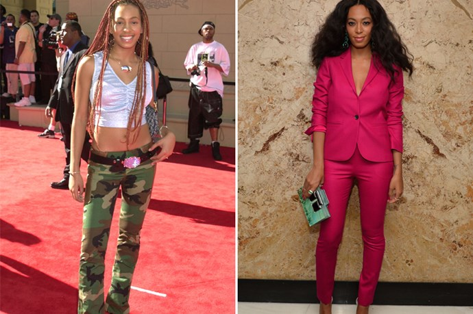 Solange Knowles is one of our favourite style inspirations, so it was a shock to see her dressed so casually (and in army pants, no less!). Her transition into colour-commanding style queen was a well planned one.