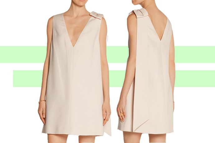 "For a beach wedding, you want something cool, breezy and not too flashy. This <a href=""http://www.net-a-porter.com/au/en/product/587947/valentino/bow-embellished-wool-and-silk-blend-crepe-mini-dress"">Valentino dress</a> works as a wedding outfit, and as a work/party/event/pretty-much-anything dress."