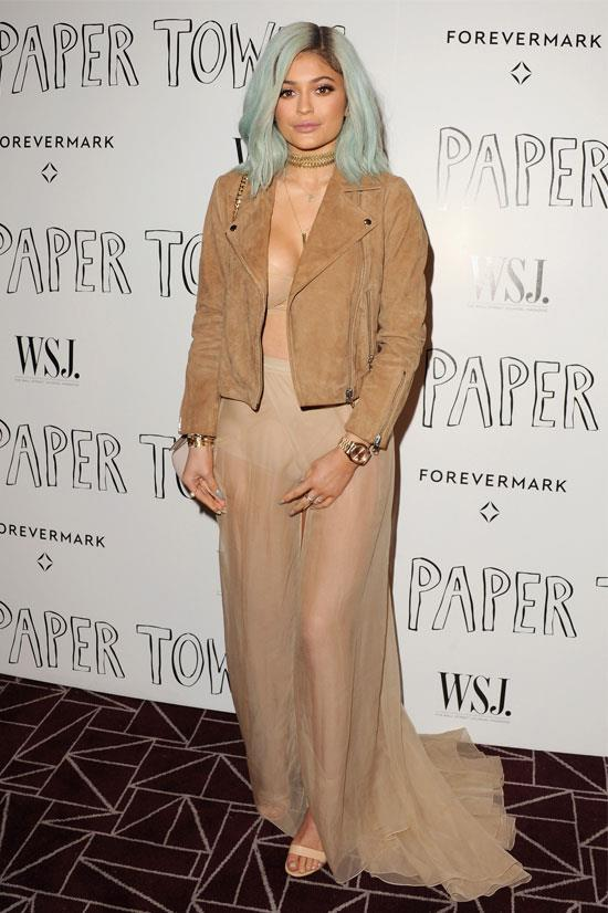 Kylie attends a screening of <em>Paper Towns</em> in this sheer, boho look.