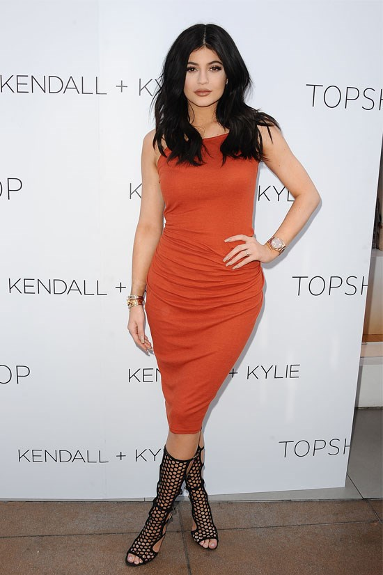 Kylie attends the Kendall + Kylie Fashion Line launch party at Topshop.
