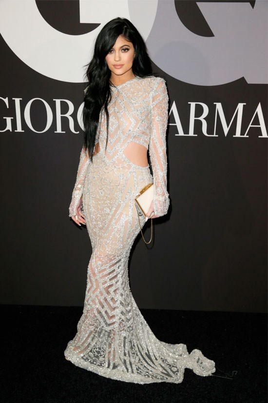 Kylie attends the GQ and Giorgio Armani Grammy's after party, featuring disco ball vibes.