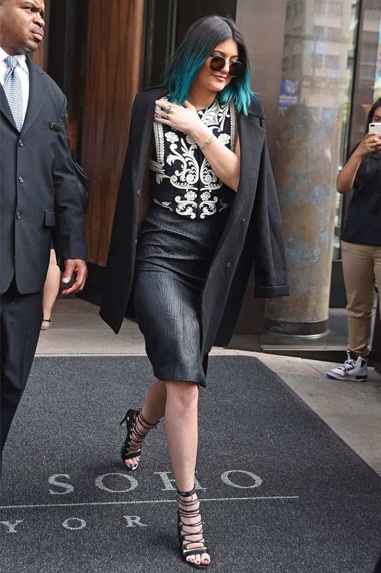 Kylie always rocks a strappy shoe.