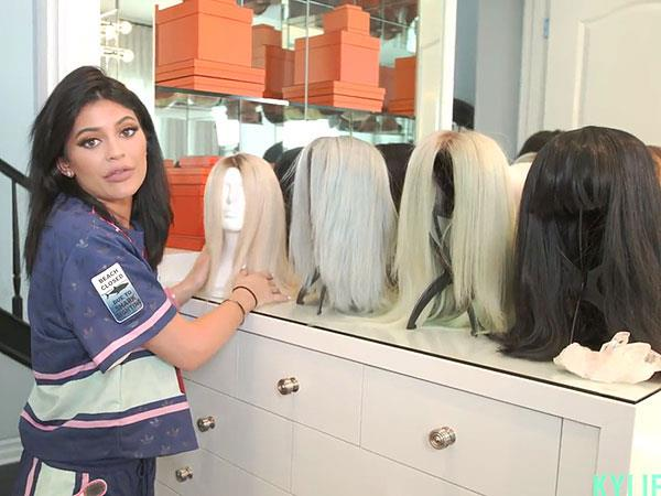 "<p>Kylie's wig station which includes her blue moment and the 50's style cut with bangs she wore to the 2015 VMAs.</p> <p> ""I think I'm a wig girl. I love wigs and they're super easy.""</p>"