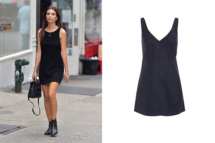"<p>Emily Ratajkowski keeps things simple in a LBD. </p> <p>Suede dress, $50, <a href=""https://www.bardot.com/bardot/merchandising/salebl/dresses/nadia-sueded-dress"">Bardot</a></p>"