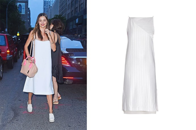 "<p>Miranda Kerr keeps things fresh in this elegant white slip dress.</p> <p>White dress, $946, <a href=""http://www.matchesfashion.com/au/products/Edun-High-neck-striped-satin-dress-1019705"">Matches Fashion</a></p>"