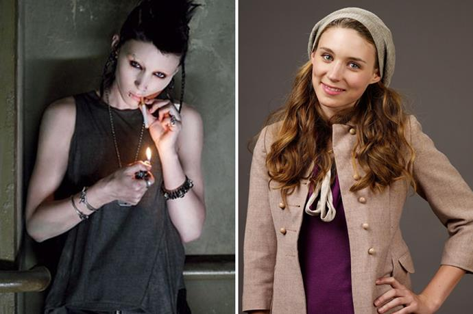 Rooney Mara committed all the way to playing Lisbeth Salander in <em>The Girl With The Dragon Tattoo</em>. PS. Her nipple, nose, eyebrow and lip piercings were 100% real.